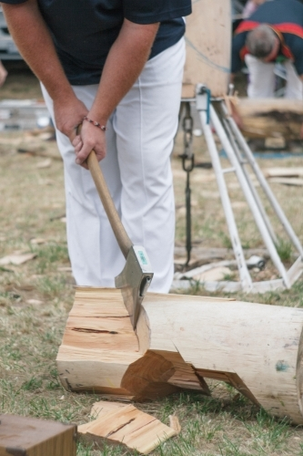 Woodchopping competition at country show