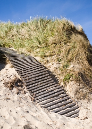 wooden boardwalk up a sand dune at a beach