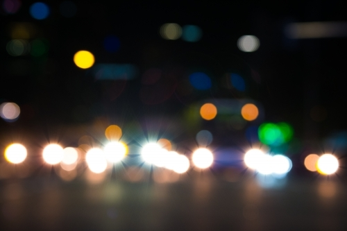Blurred lights of city traffic at night