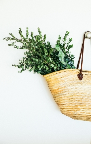 Shopping basket with Australian native gum leaves