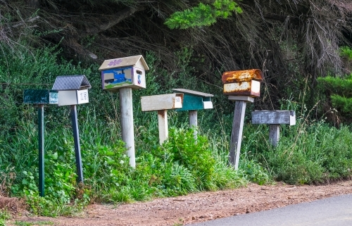 Country letterboxes all in a row
