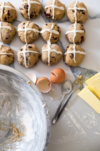 Making Easter Hot cross Buns at home