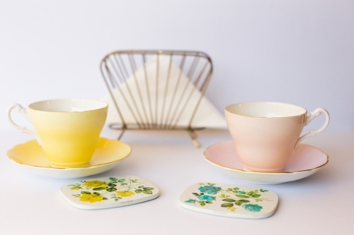 Yellow and pink vintage tea cups