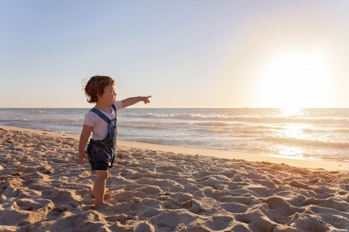 Young Child Pointing At The Ocean At Sunset