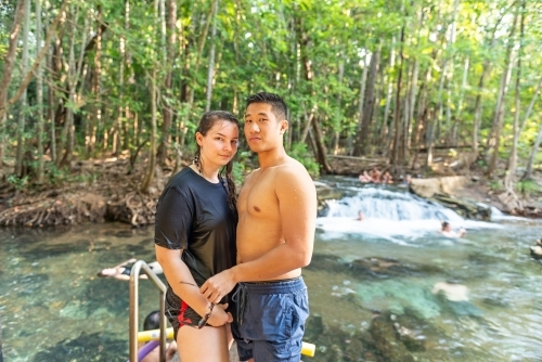 Young couple at waterhole