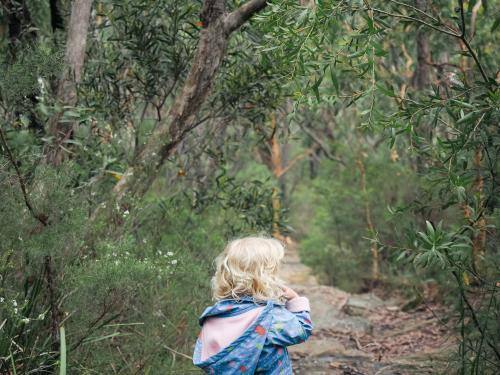 Young girl bushwalking