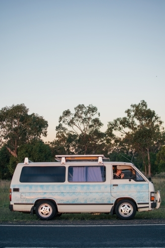 Young man road tripping across Australia