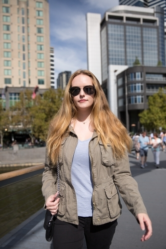 Young Woman Walking in Melbourne City