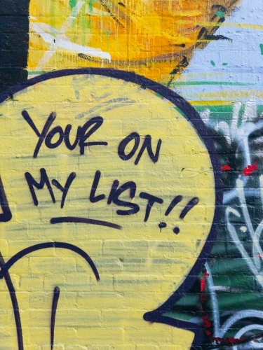Your on my list, bad grammar on painted graffitied wall